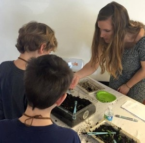 Caroline Bargo teaches students about compost.